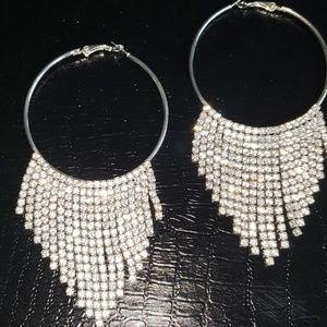 Gorgeous Rhinestones Fringe Hoop Earrings!